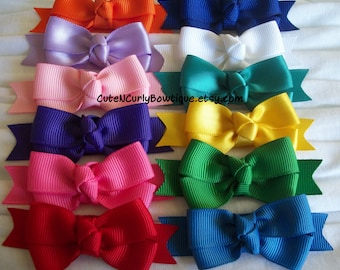 Girls Hair bow Rainbow Bows Back to School Bows Primary Hair bows for Girls Hair Clip Baby Bows  Colorful Blue Pink Yellow Baby Hairbows