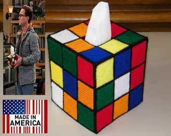 Free Shipping Within USA Exact Same Color Map Rubiks Cube Tissue Box Cover  Seen on Big Bang Theory
