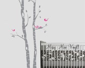 Set of 2 Birch Decal Trees with Playful birds and Nest, Birch Decal, Birch with birds, Birch forest, Nursery Birch Trees Wall Vinyl