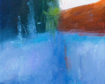 """SALE! Original modern abstract landscape oil painting """"A Cold Morning"""", 10"""" x 10"""" on canvas.  Home decor art."""