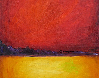 """SALE! Original abstract landscape oil painting """"The Passion of Red"""", 16"""" x 20"""" on canvas. Shorthand Message He is my Rock."""