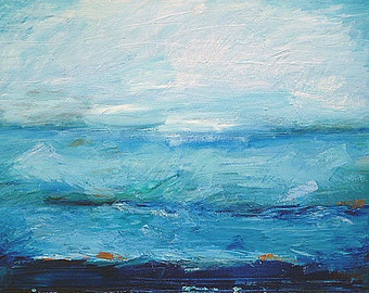 """SALE! Expressionist. Original oil painting 22"""" x 30"""". Abstract seascape, landscape ocean art. Seaside and cottage decor. Fine art. Wall art"""