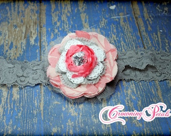 Coral, Grey Flower Hair Accessory, Coral Headband, Gray, Infant Hair Bow, White, Coral Hair Clip, Fabric Flowers, Hair Piece, Coral Hairbow