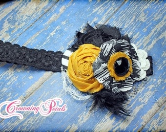 Mustard Yellow, Black, White Headband, Fabric Flower Brooch, Hair Accessories, Baby Girl's Hair Clip, Hair Bow, Photo Prop