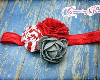 Red, Grey, Gray Hair Bow, Fabric Flower Headband, Hair Accessories, Baby Girl Hair Bows, Fabric Flowers, Hair Clip, Flower Brooch
