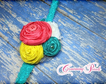 Coral, Teal, Yellow Hair Accessory, Turquoise Headband, Fabric Flower Brooch, Baby, Flower Headband, Hair Clip, Fabric Flowers, Hair Piece