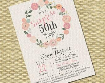 Birthday Invitation - Milestone Birthday - Any Event - Floral Circle Burlap Typography
