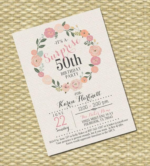 Adult Birthday Invitation Surprise Birthday Invite 50th