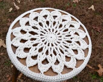 Crochet Stool Cover  Doily Style Mandala Granny Square Off White Aran Handmade  Littlestsister
