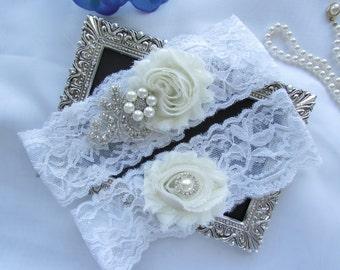 IVORY  Rhinestone applique, Lace Garter Wedding Garter Set, Bridal Garter Set  .Style # GL 2003