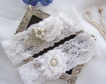 White or Ivory Stretch  Lace Garter Wedding Garter Set, Bridal Garter Set/ White Lace Garter. style # LG 2003