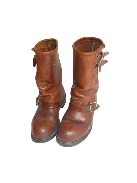 vintage carolina motorcycle boots brown leather by
