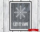 Let it SNOW - Winter Home Decor -  8x10 PDF Instant  Download