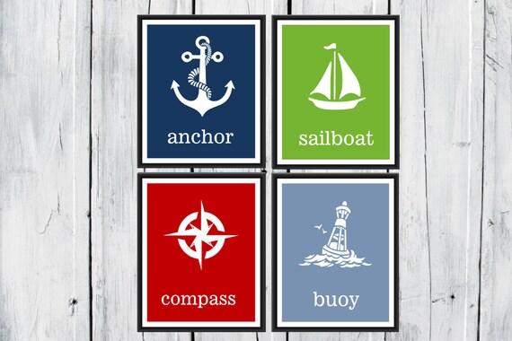 Nautical Nursery Four Print Set - Sailboat - Lighthouse - Whales - Anchor Print