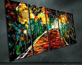"""Large Original Metal Wall Art Modern Abstract Painting Sculpture Indoor Outdoor Decor """"Love night """" by Ning"""