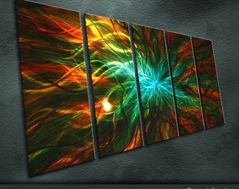 "Large Original Metal Wall Art Modern Abstract Painting Sculpture Indoor Outdoor Decor ""Energy Series"" by Ning"