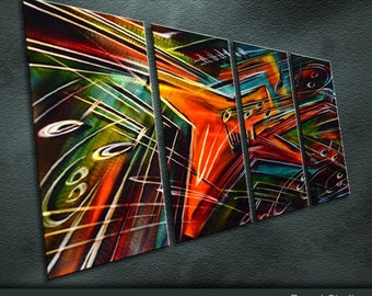 """Large Original Metal Art Modern Abstract Special Indoor Outdoor Decor """"Heavy Meatl"""" by Ning"""