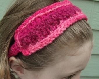Childs knit headband - Magenta