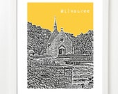 Milwaukee, Wisconsin City Skyline Print - Joan of Arc Chapel - Dorm Art - Unique Graduation Gift