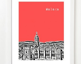 Malaga Spain  - City Skyline Series Poster - Malaga Skyline Print - Spanish Art