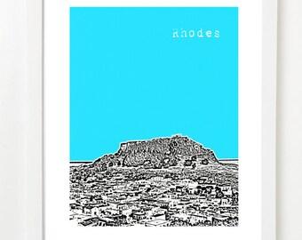 Rhodes Greece Skyline - Rhodes Greece Travel Art Print Series - Rhodes Poster