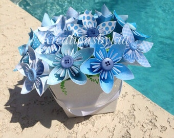 Blue Rhapsody - Origami Paper Flower Bouquet/kusudama, origami bouquet, wedding decorations, baby shower, birthday decor, centerpiece