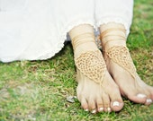 Bridal  barefoot sandal. Tan Beach wedding barefoot jewelry, crochet lace nude shoes