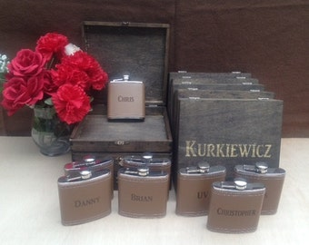 Groomsmen Gift Set of 11 Cigar Box/Flask Set - Laser Engraved Name - FREE SHIPPING - Stained and Personalized - Brown Leather Flask