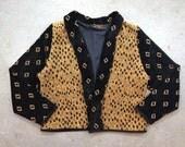 vintage 1980s shawl collar jacket in black & gold. retro leopard print outerwear. size medium.