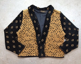 vintage 1980s shawl collar jacket in black & gold. retro leopard print outerwear. size medium.