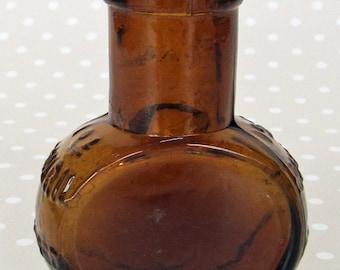 Vintage Brown Amber 1 oz Bovril Glass Bottle Jar - Great Display Piece or Bud Posey Vase
