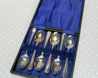 Vintage Hinged Hard Boxed Set of 6 EPNS Art Deco Style Tea Spoons Sheffield England