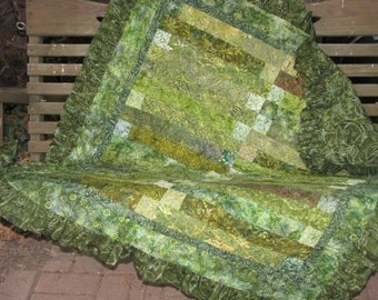 Small Lap Quilt - Decorator Throw - Green Batik