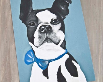 Handsome James-Boston Terrier Portrait/ Fine Art Print