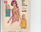 """Vintage Sewing Pattern Simplicity 7513 for Blouse """" How to Sew Pattern"""",  Sz 14, 1960s"""