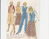 Vintage UNCUT Sewing Pattern Butterick 5527 for Vest, Skirt, Culottes and Pants, Sz 14, 70s