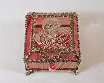 Flamingo Carved Glass Jewelry Box -  Faberge Style