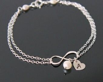 INFINITY Heart Initial Bracelet, Infinity Initial Bracelet, Choose your Birthstone Bracelet, Bridesmaid Bracelet.