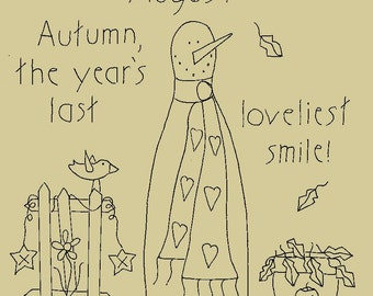 """Primitive Stitchery E-Pattern Rolling Pin Snowman by Month """"August"""", """"The year's last loviest smile."""""""