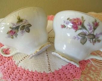 Porcelain Tea Cups Set of Four Pink Roses Gorgeous