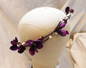Purple delphinium floral buds with white pip berries floral wedding hair crown garland wreath