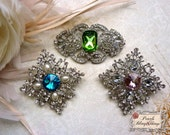 Set of 2 Large Square Oval Crystal Colored Pearls Rhinestone Silver Brooches Embellishment Brooch Bouquet