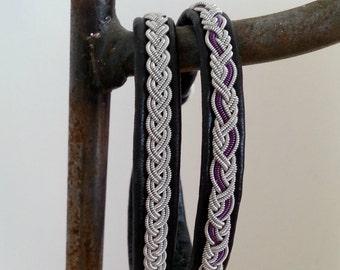Double Wrap Lapland Sami Bracelet, Reindeer leather