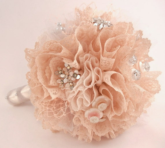 ANGELIQUE Vintage Lace Jewelry Button Embellished Wedding Bouquet Blush Pink Peach Cream Silver