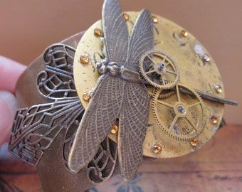Steampunk, Antique Watch Part, Dragonfly, with Swarovski Crystals and Filigree Solid Copper Cuff