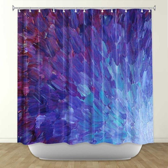 Scales of a different color fine art painting shower curtain for Aubergine bathroom ideas
