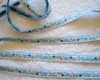 Jacquard Embroidered Blue Hearts Ribbon, Multi, 1/2 inch wide, 1 yard, For Home Decor, Accessories, Apparel, Scrapbook, Mixed Media