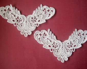Victorian Venice Lace Applique, 5 x 3 inch, Ivory, x 2, For Bridal, Romantic, Victorian Projects
