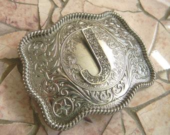 Monogram Letter J Personalized Silver Belt Buckle, Rhinestone Initial J Monogrammed Womens Mens Kids Western Belt Buckle, Custom Belt Buckle