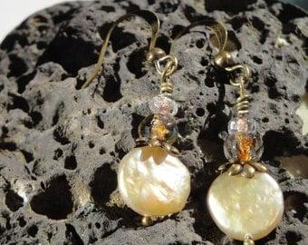 Ivory freshwater pearl and Czechoslovakian glass earrings